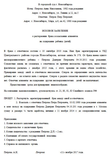 Копия заявления на развод в суд